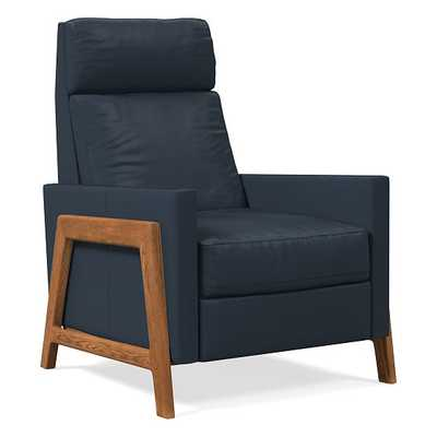 Spencer Recliner, Sierra Leather, Navy, Walnut - West Elm