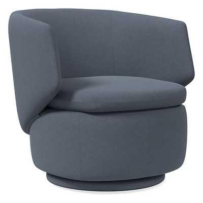 Crescent Swivel Swivel Chair, Performance Velvet, Corn Flower, Concealed Support - West Elm