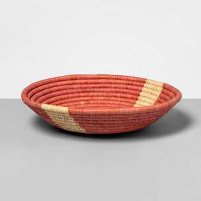 """12"""" x 4.7"""" Hand Woven Raffia Bowl Pink - All Across Africa for Opalhouse , Beige - Target"""
