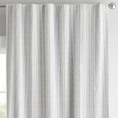 "Riley Stripe Blackout Curtain Panel, 96"", Navy/White - Pottery Barn Teen"