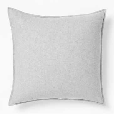 Organic Flannel Solid Duvet, Light Gray, Euro Sham - West Elm