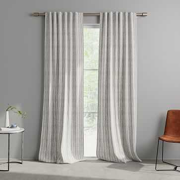 "Wave Stripe Curtain, Stone Gray, Set of 2, 48""x108"" - West Elm"