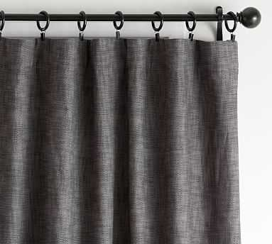 "Seaton Textured Blackout Curtain, 50 x 108"", Charcoal - Pottery Barn"