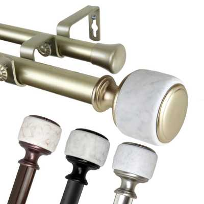 "EMOH 1 Inch Dia 160-240"" Adjustable Crutch Double Curtain Rod in Gold - Home Depot"