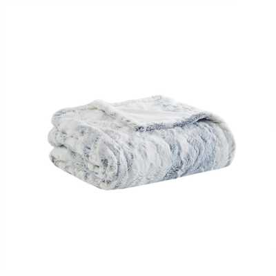 "Beautyrest Marselle Grey 50"" x 70"" Oversized Faux Fur Heated Throw - Home Depot"