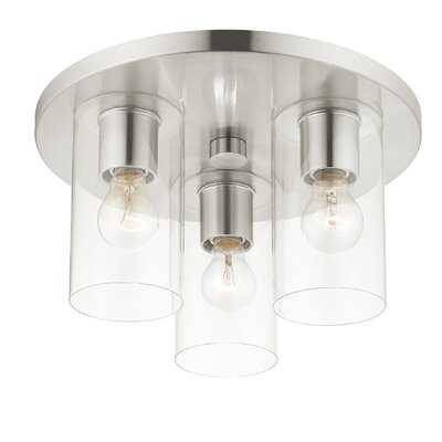 3 Light Brushed Nickel Flush Mount - Wayfair