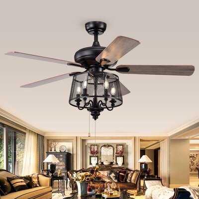 Croteau 5 Blade Ceiling Fan, Light Kit Included - Birch Lane