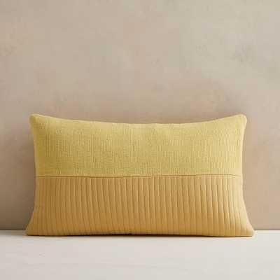 """Quilted Cotton Pillow Cover, 12""""x21"""", Yellow Stone - West Elm"""