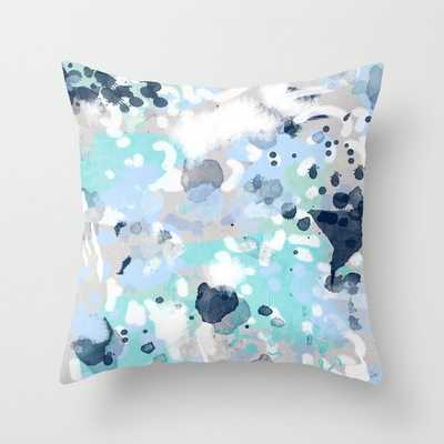 "Silva - Abstract Painting Large Canvas Art Print For Modern Decor Cool Blue Relaxing Design Urban Couch Throw Pillow by Charlottewinter - Cover (18"" x 18"") with pillow insert - Outdoor Pillow - Society6"