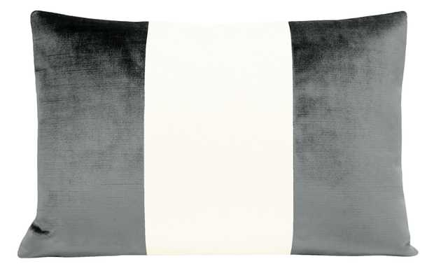 "The Little Lumbar :: COLORBLOCK Faux Silk Velvet // Graphite - 12"" X 18"" - Little Design Company"