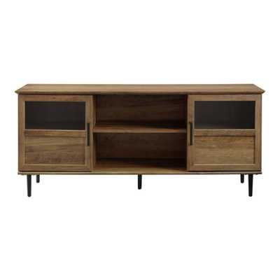 """58"""" Glass & Wood Split Panel Door TV Console Brown - Saracina Home - Target"""