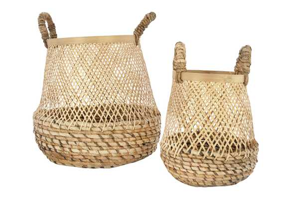 "11"" & 15"" Handwoven Bamboo Baskets with Handles (Set of 2 Sizes) - Nomad Home"