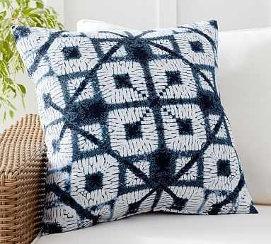 "Sunbrella(R) Cleon Shibori Jacquard Indoor/Outdoor Pillow, 22 x 22"", Blue Multi - Pottery Barn"