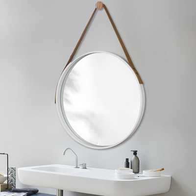 Neu-Type Retro Round Wall Hanging Mirror With Leather Strap - Home Depot