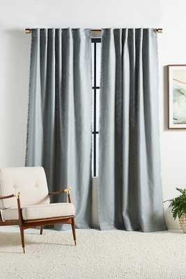"""Luxe Linen Blend Curtain By Anthropologie in Blue Size 50"""" X 96"""" - Anthropologie"""