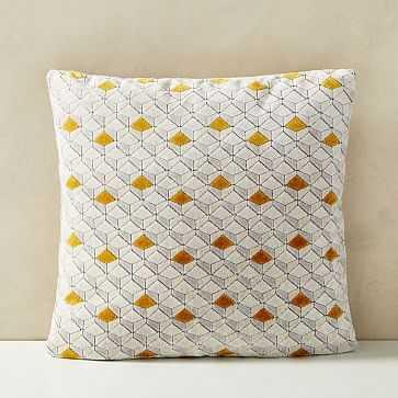 """Tricolor Diamond Cut Velvet Pillow Cover, 20""""x20"""", Dark Horseradish - West Elm"""