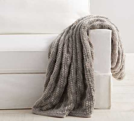 "Faux Fur Throw, 50 x 60"", Gray Honeycomb - Pottery Barn"