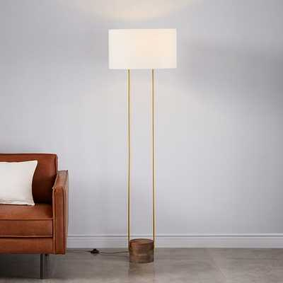 Industrial Outline Floor Lamp, Large, Cool Walnut/Antique Brass - West Elm