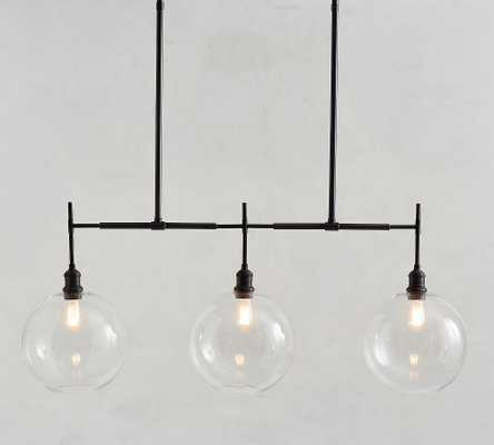 Glass Globe Linear Chandelier, Bronze - Pottery Barn