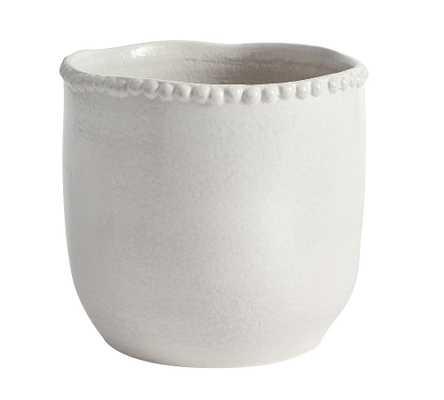 Beaded Ceramic Planter, Large - White - Pottery Barn