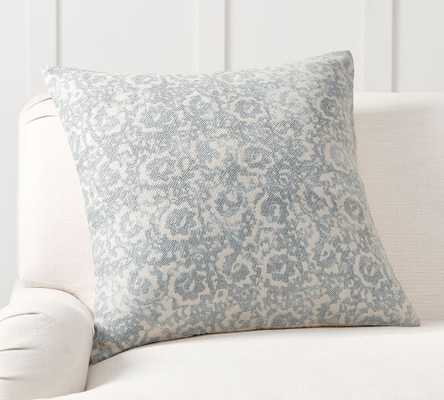 """Anna Printed Pillow Cover, 24 x 24"""", Mineral Blue - Pottery Barn"""