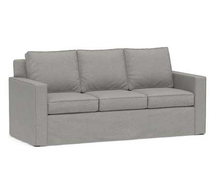 """Cameron Square Arm Slipcovered Sofa 86"""", Polyester Wrapped Cushions, Performance Heathered Basketweave Platinum - Pottery Barn"""