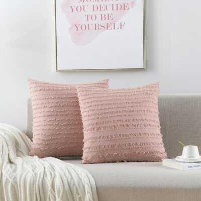 Prewashed Jacquard Square 100% Coton Pillow Cover & Insert - Wayfair