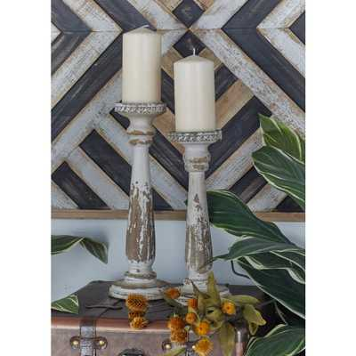 Litton Lane Vintage White Wooden Candle Holders (Set of 2), Brown - Home Depot