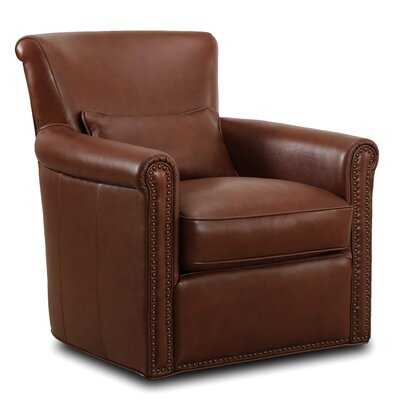 Middleborough Genuine Leather Self Centering Swivel Club Chair - Wayfair