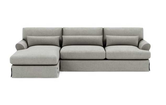 Maxwell Slipcovered Left Sectional with Grey Ore Fabric and Natural Oak with Antique Cap legs - Interior Define