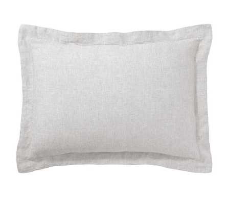 Soft Gray Belgian Flax Linen Shams, Standard - Pottery Barn