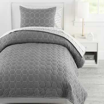 Honeycomb Quilt, Twin, Charcoal - West Elm