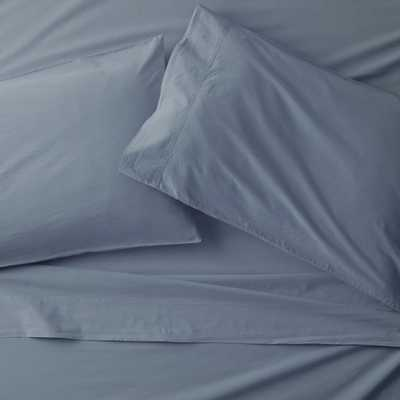 Washed Organic Cotton Blue King Sheet Set - Crate and Barrel