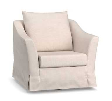 SoMa Brady Slope Arm Slipcovered Swivel Armchair, Polyester Wrapped Cushions, Classic Basketweave Linen - Pottery Barn