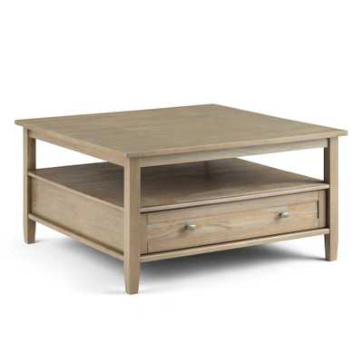 Brooklyn + Max Lexington Solid Wood 36 inch Wide Square Rustic Coffee Table in Distressed Grey - Home Depot