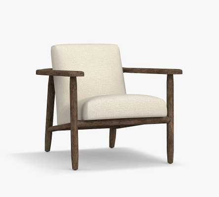 Mesa Upholstered Armchair, Polyester Wrapped Cushions, Ivory, Performance Heathered Tweed - Pottery Barn