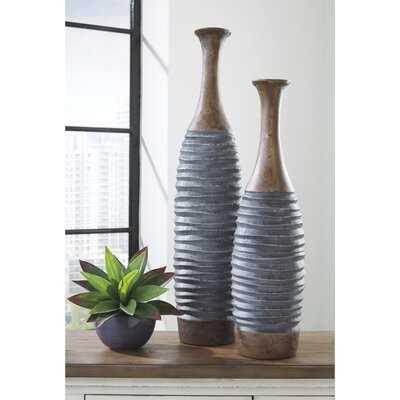 2 Piece Suranne Gray Resin Floor Vase Set - Wayfair
