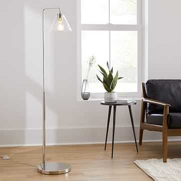 "Sculptural Floor Lamp, Cone, 8"", Clear, Polished Nickel - West Elm"