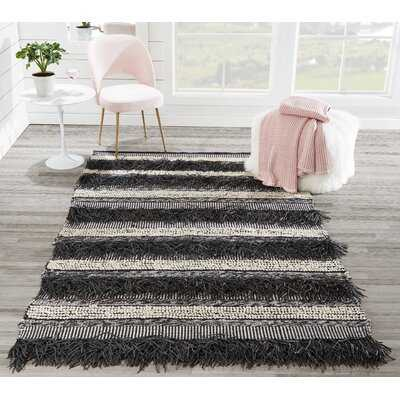 Union Rustic Otto Hand Woven Striped Black Area Rug 2' X 3' - Wayfair