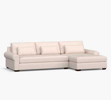 Big Sur Roll Arm Upholstered Deep Seat Left Arm Sofa with Double Chaise Sectional and Bench Cushion, Down Blend Wrapped Cushions, Performance Heathered Tweed Graphite - Pottery Barn