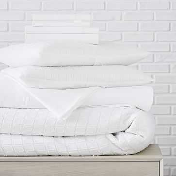 Clipped Jacquard Squares Duvet Styled Set, Stone White, Queen - West Elm