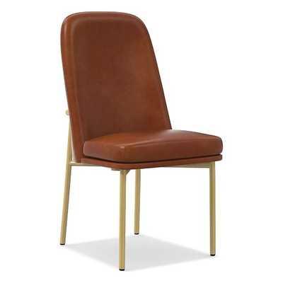 Jack Metal Frame High Back Dining Chair, Leather, Saddle, Light Bronze - West Elm