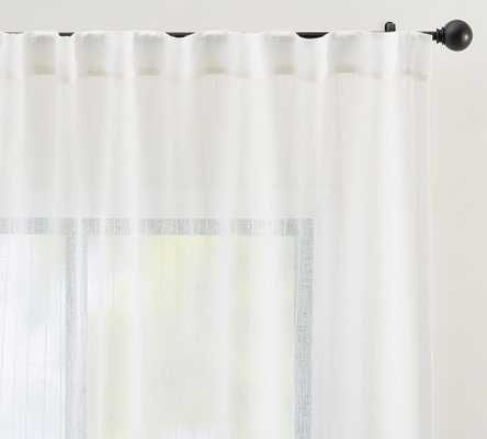 "Emery Pinstripe Rod Pocket Sheer Curtain, 50 x 96"", White - Pottery Barn"