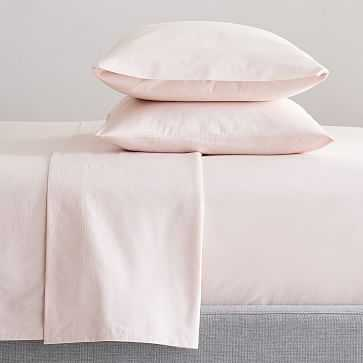 Organic Washed Cotton Sheet Set, Twin + Twin XL, Pink Champagne - West Elm