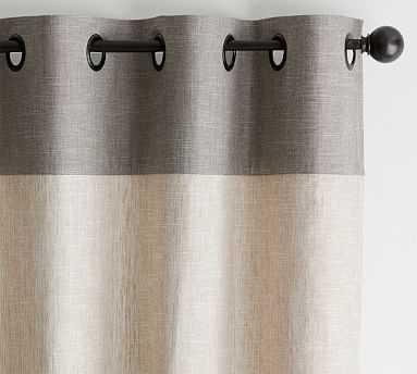 "Emery Border Linen/Cotton Curtain, 50 x 96"", Oatmeal/Gray - Pottery Barn"