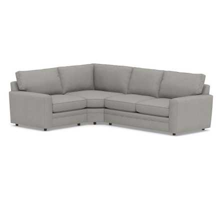 Pearce Square Arm Upholstered RIGHT Arm 3-Piece Wedge Sectional, Down Blend Wrapped Cushions, Performance Heathered Basketweave Platinum - Pottery Barn