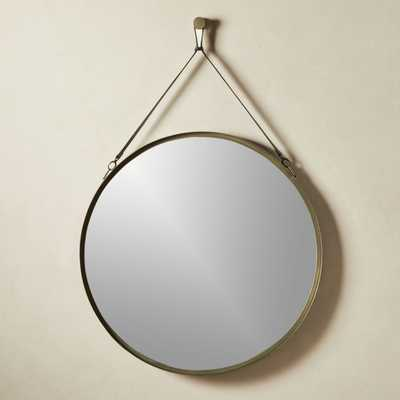 Victor Leather Gunmetal Trapezoid Mirror - CB2