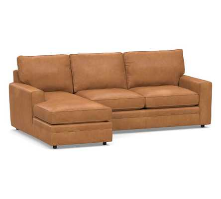 Pearce Square Arm Leather Right Arm 2-Piece Loveseat with Chaise Sectional, Down Blend Wrapped Cushions, Churchfield Camel - Pottery Barn