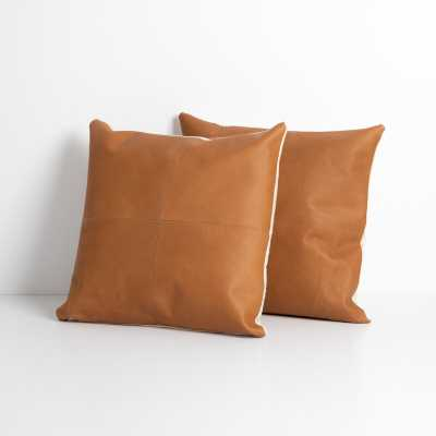 Four Hands Mateo Square Leather Pillow Cover & Insert Color: Whiskey - Perigold