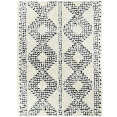 Entrekin Shag Blue/White Area Rug - stain resistant - Wayfair